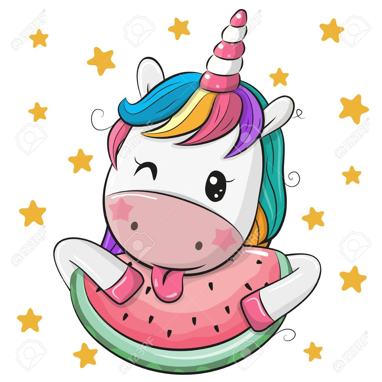 Cute Cartoon Unicorn with watermelon on stars background - 111804045