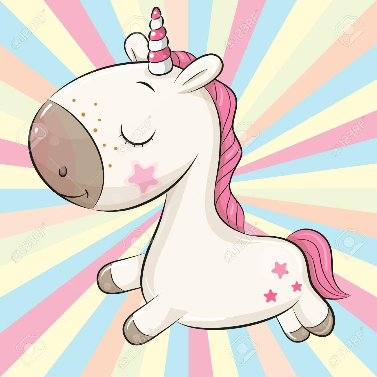 Cartoon Unicorn on a colored background - 111653747