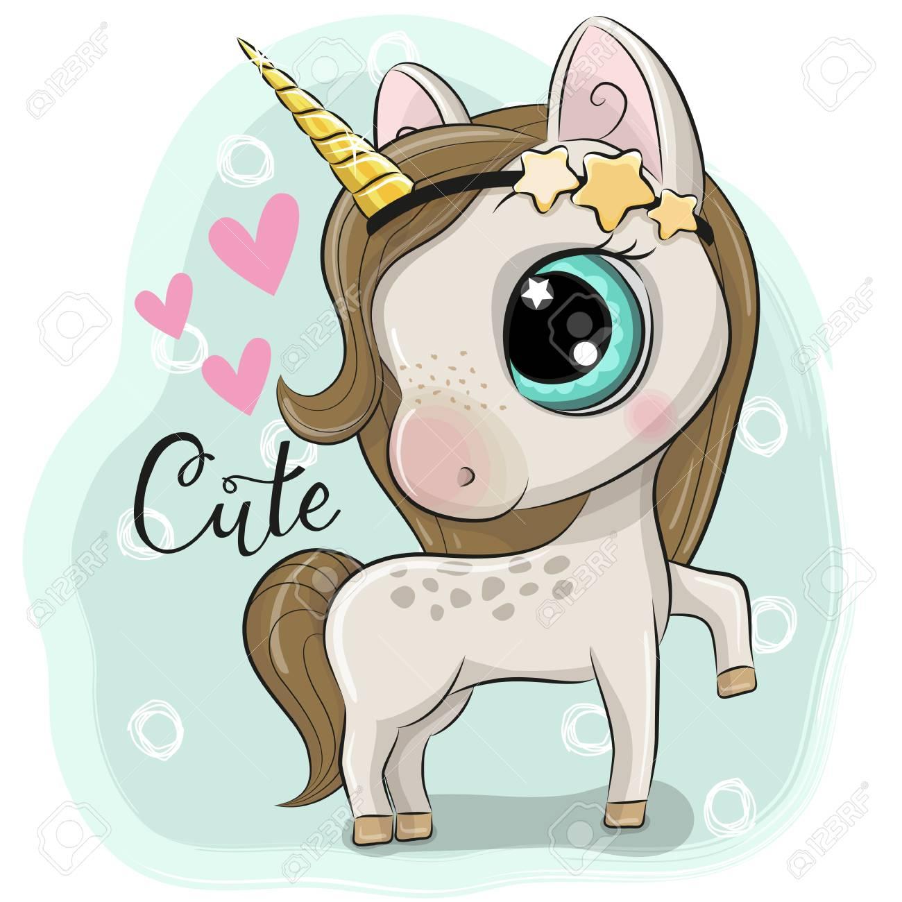 Cute Cartoon Unicorn on a blue background - 110237370