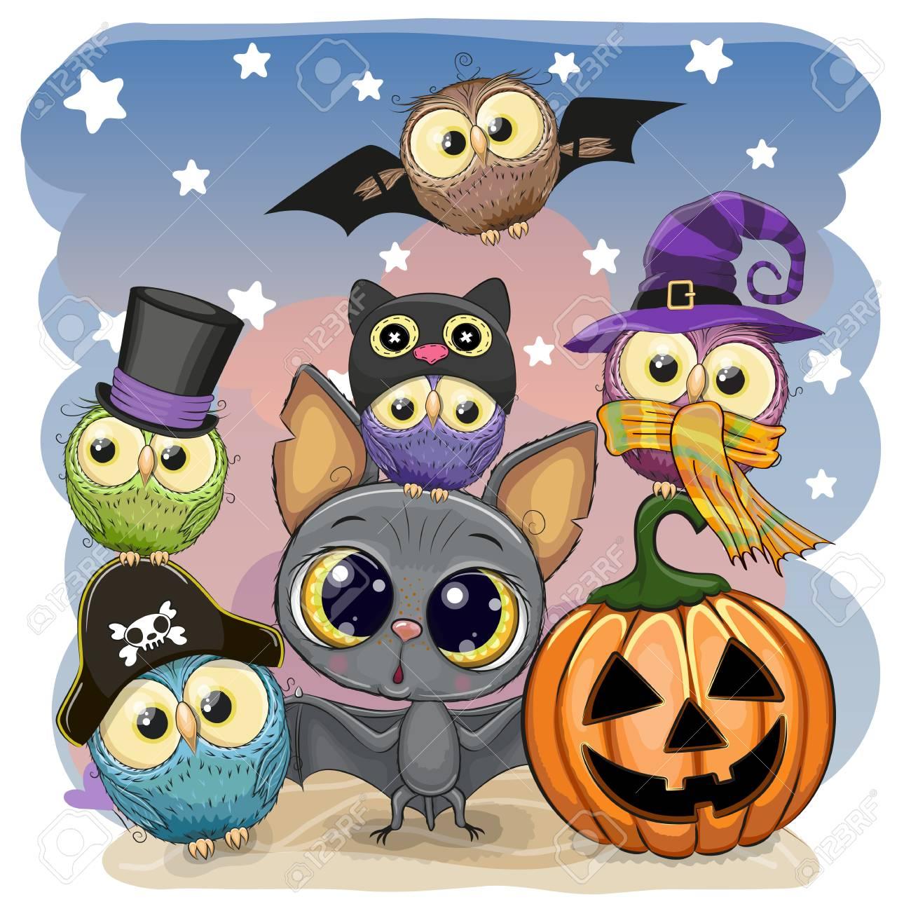 Greeting Halloween Card Cute Cartoon Bat with pumpkin and five owls - 110704631