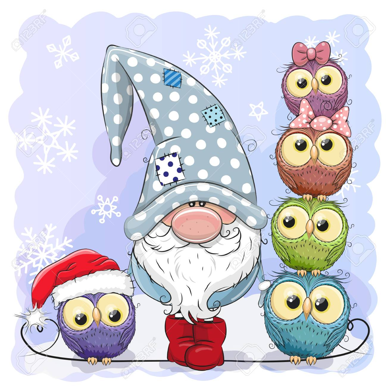 Greeting Christmas card Cute Cartoon Gnome and Owls blue background - 112673682