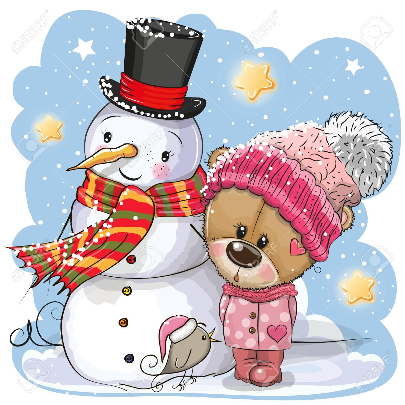 Snowman and Cute Cartoon Teddy Bear girl in a hat - 127054501