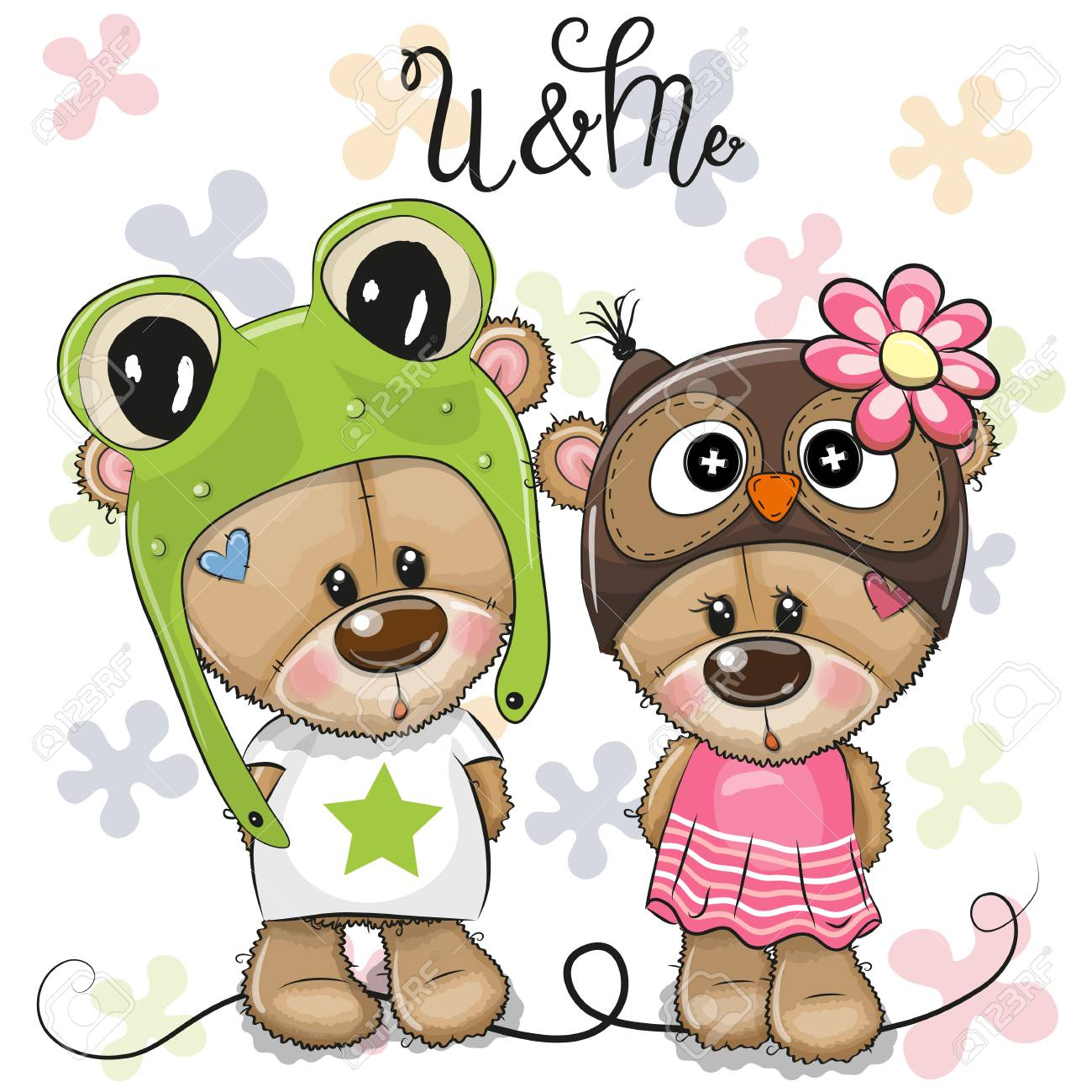 Greeting card Cartoon Bears boy and girl on a flowers background - 127054506