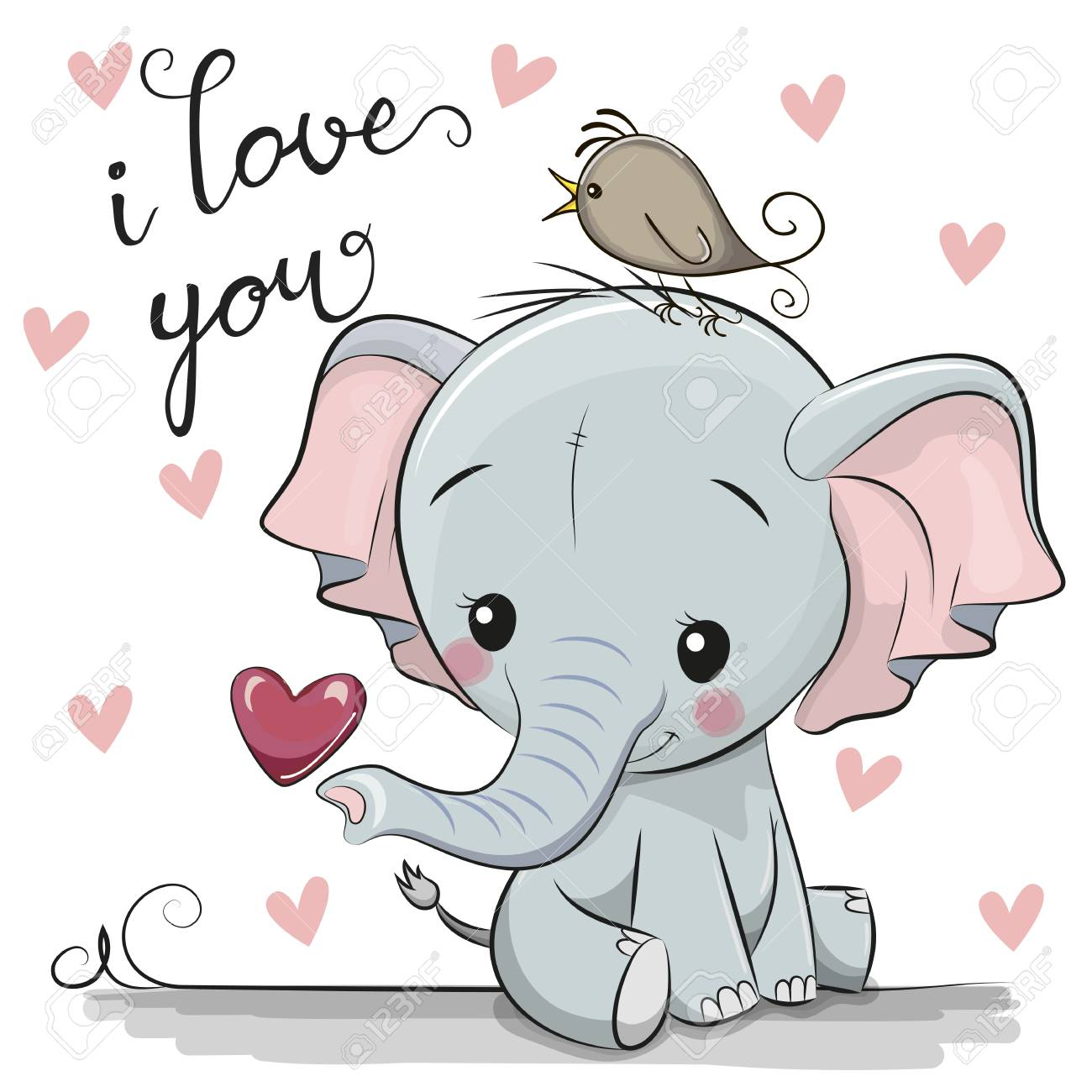 Cute Cartoon Elephant with Heart on a white background - 118130366