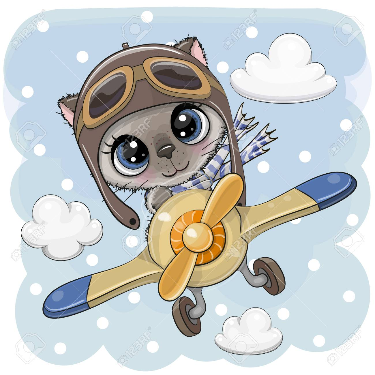 Cute Cartoon Kitten Is Flying On A Plane Royalty Free Cliparts Vectors And Stock Illustration Image 119930238