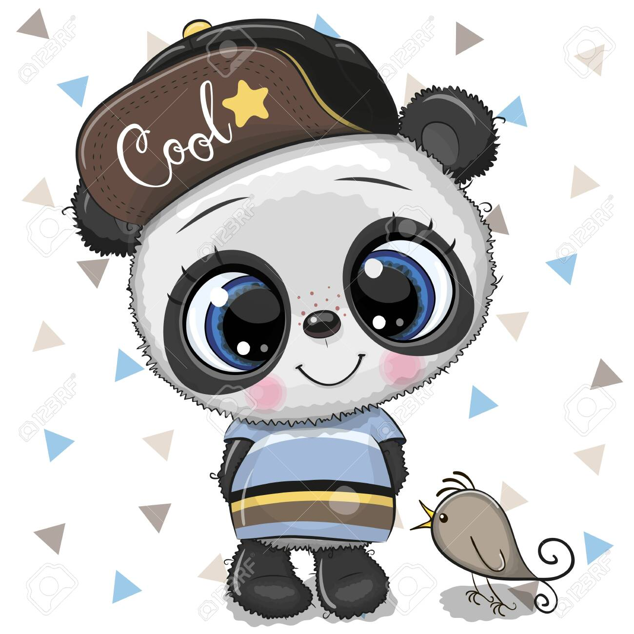 Cute Cartoon baby Panda in a cap with bird on a white background - 124042312