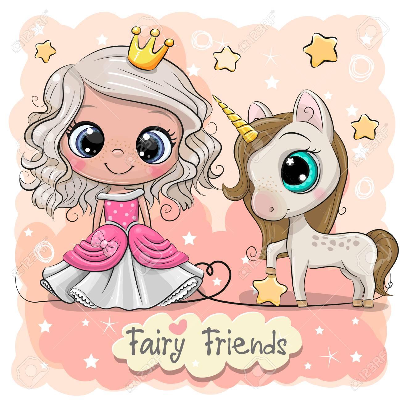 Greeting Card with Cute Cartoon fairy tale Princess and Unicorn - 122187942