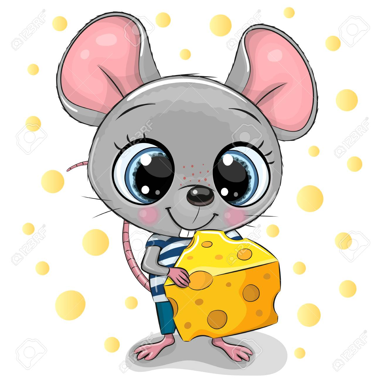 Cute Cartoon Mouse with big eyes and cheese - 123042395