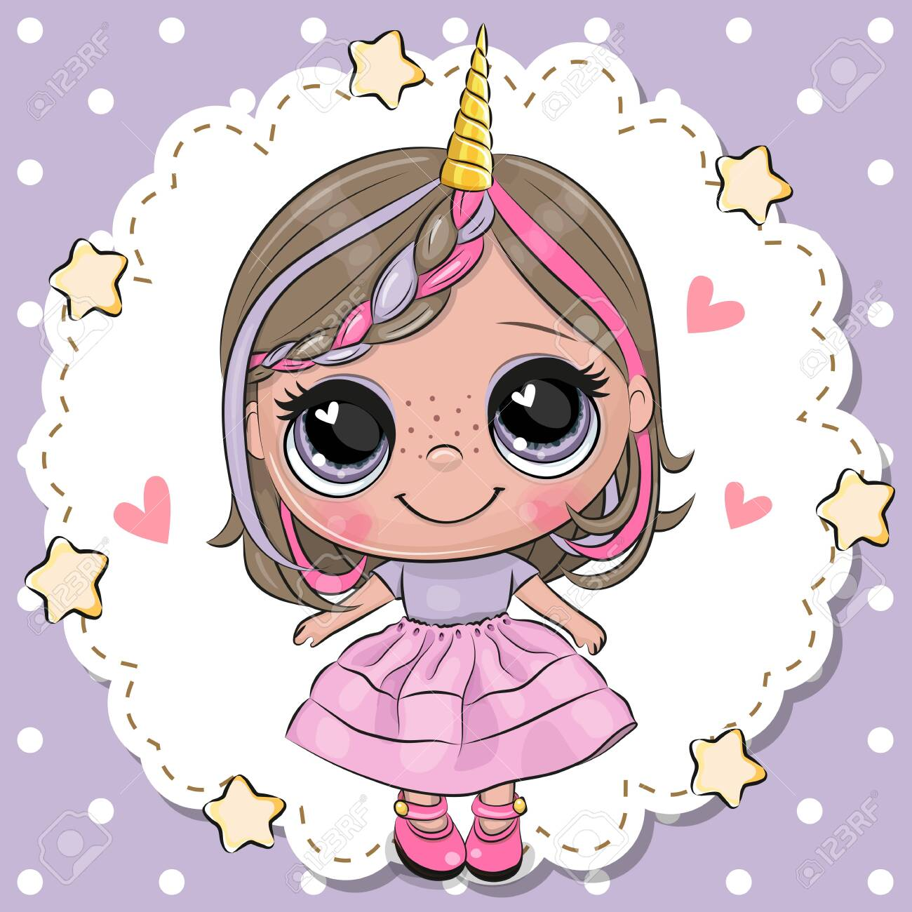 Animated Skirt cute cartoon unicorn girl with horn in a pink skirt