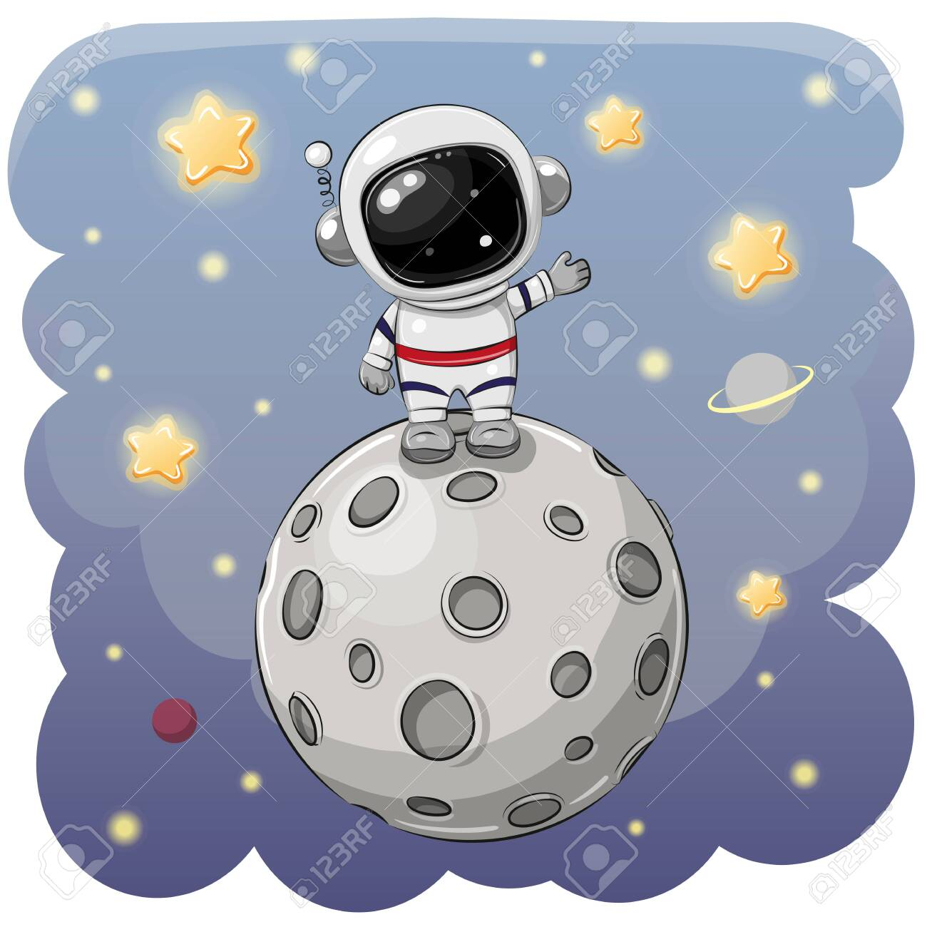 Cute Cartoon astronaut on the moon on a space background - 129268090