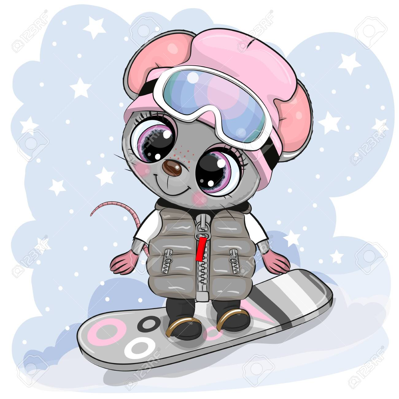 Cute cartoon Mouse Girl on a snowboard on a blue background - 130849316