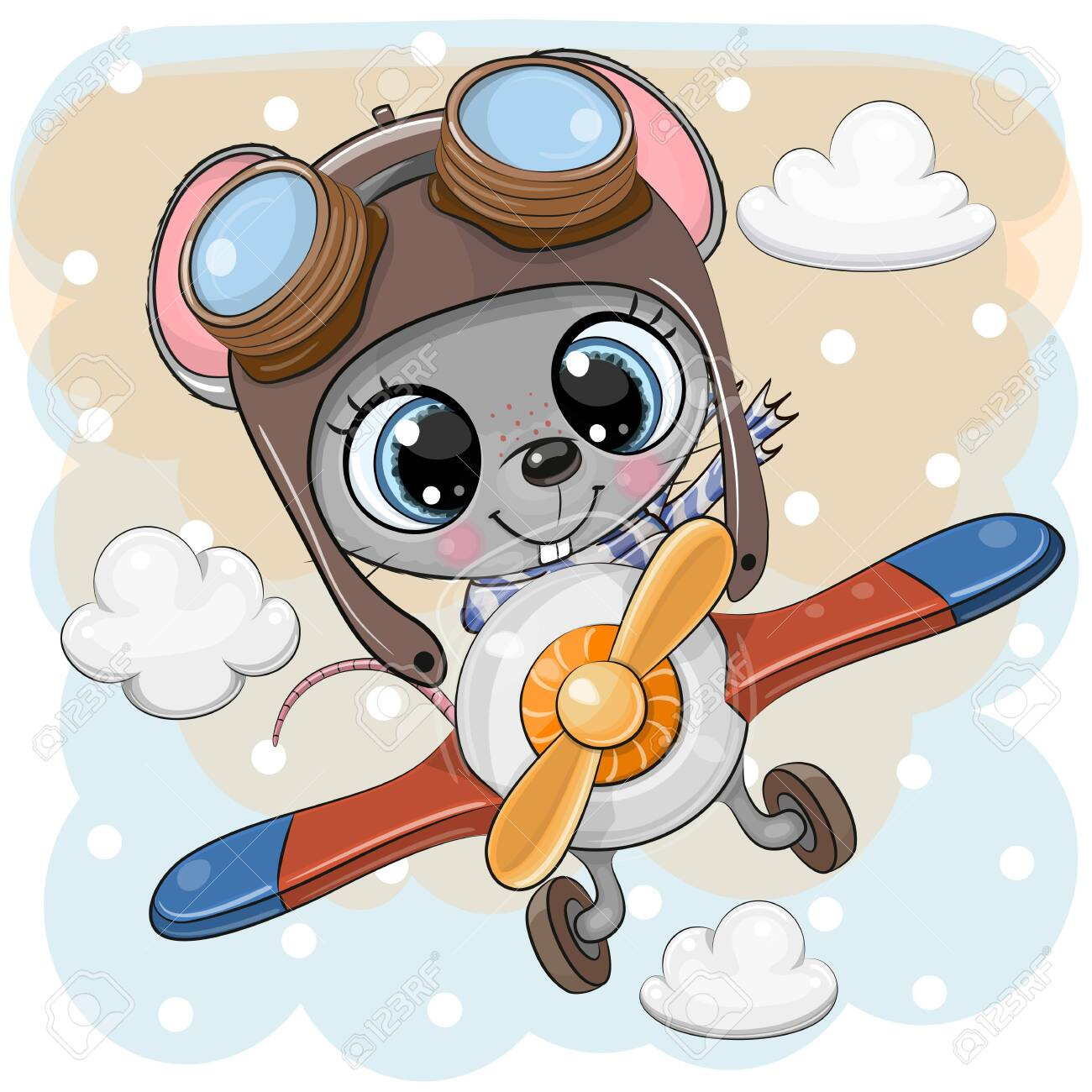 Cute Cartoon Mouse Is Flying On A Plane Royalty Free Cliparts Vectors And Stock Illustration Image 131315766