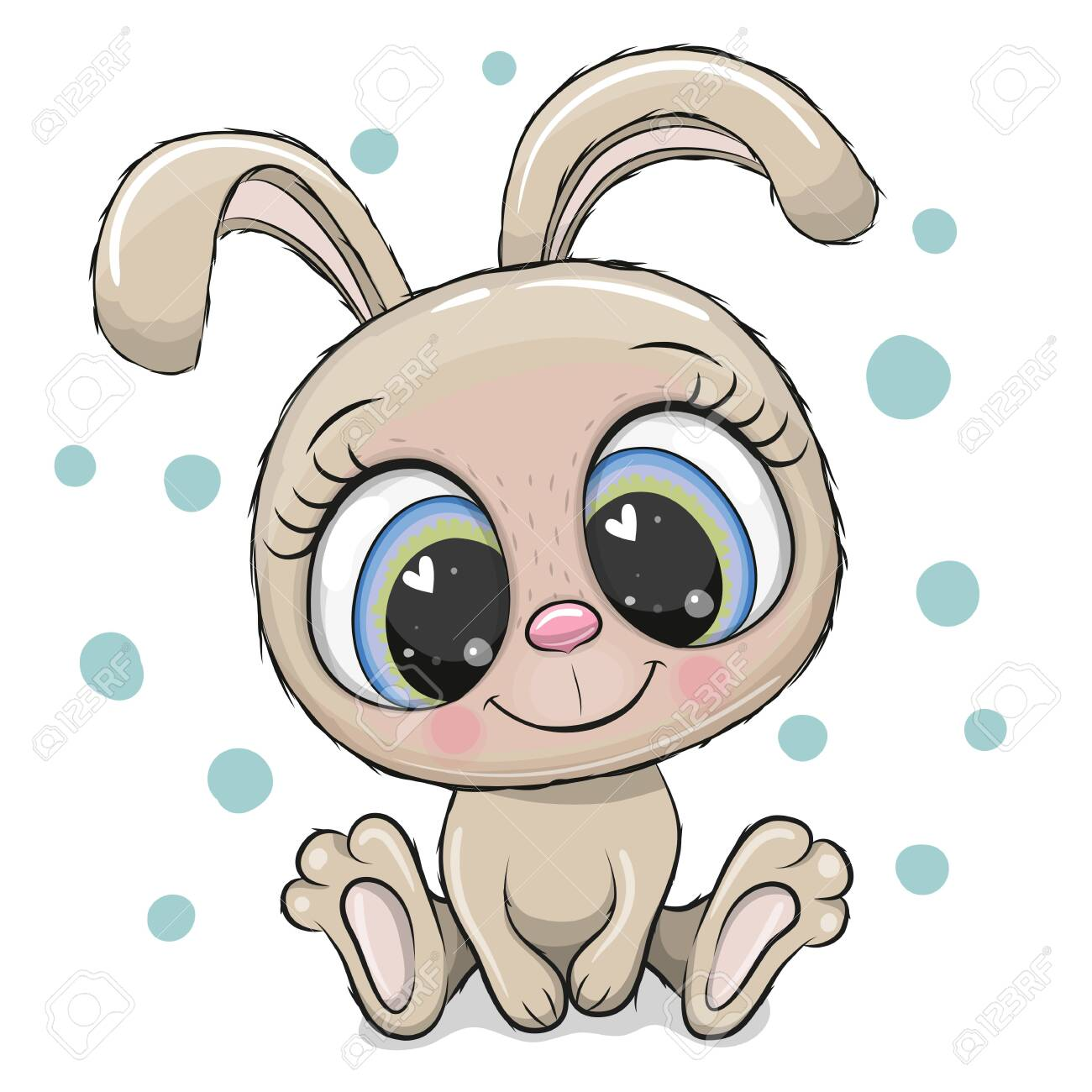 Cute Cartoon Rabbit With Big Eyes Isolated On A White Background