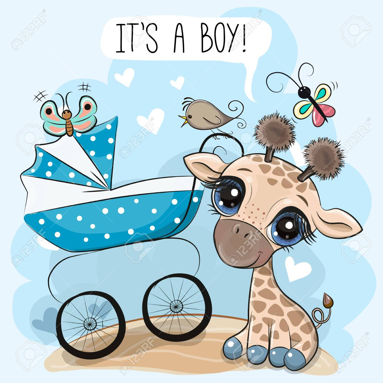 Greeting card its a boy with baby carriage and Cute Giraffe - 145924670