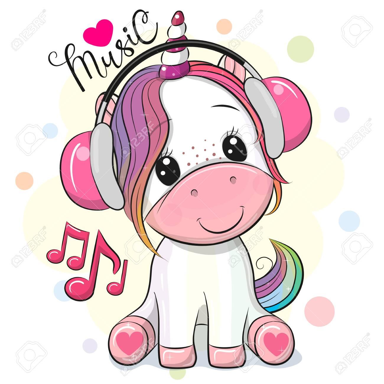 Cute Cartoon Unicorn with headphones on a white background - 148093829