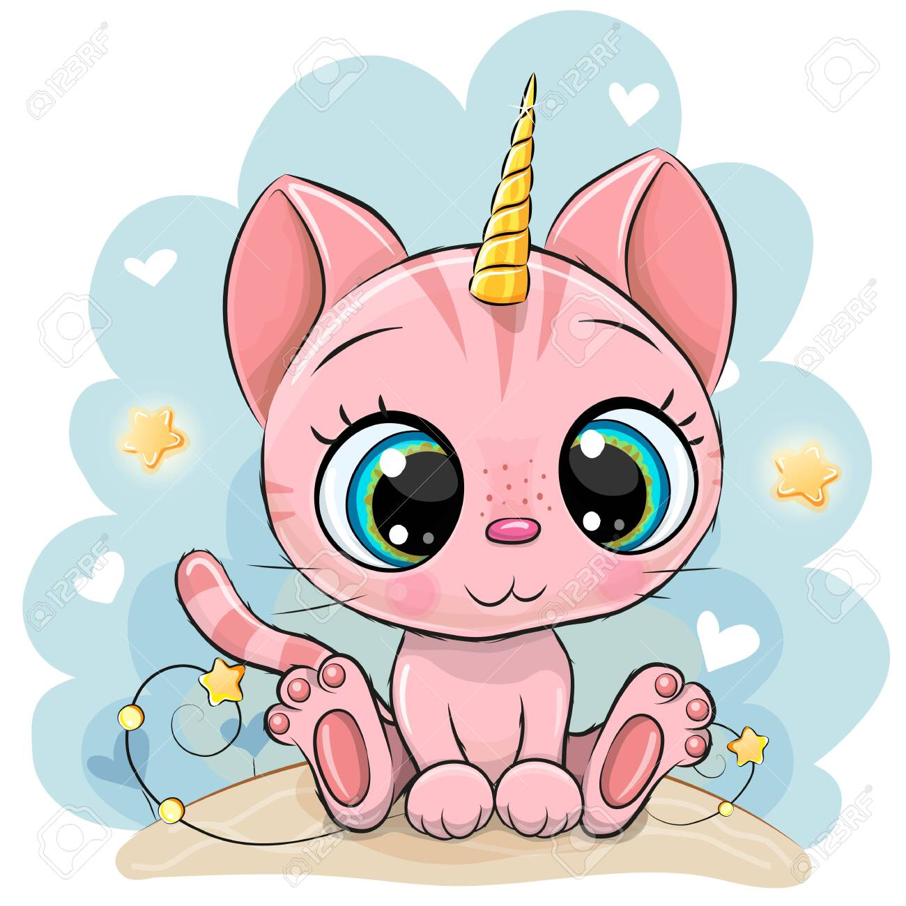 Cute Cartoon pink Kitten with the horn of a unicorn - 150177082