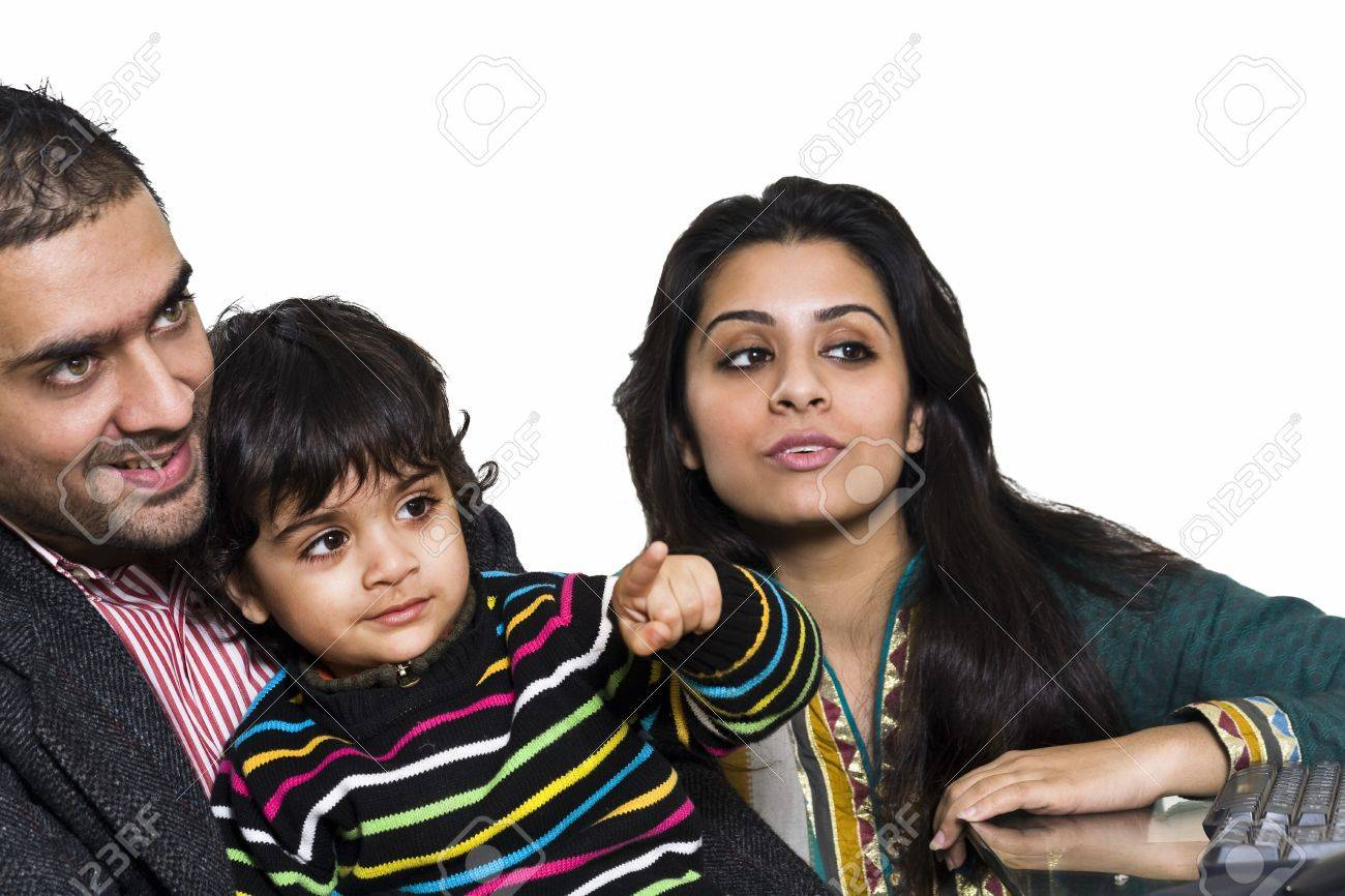 happy multi ethnic family of three enjoying together Stock Photo - 14236470