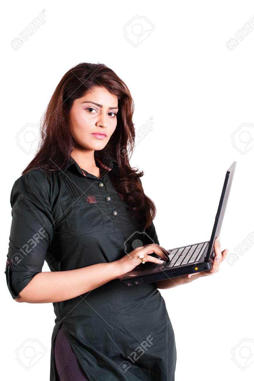 confident businesswoman using laptop isolated on white Stock Photo - 14788474