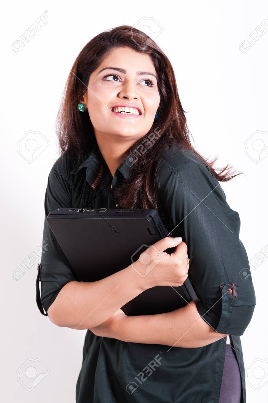 happy woman holding new laptop in excitement isolated on white with copy space Stock Photo - 14825393
