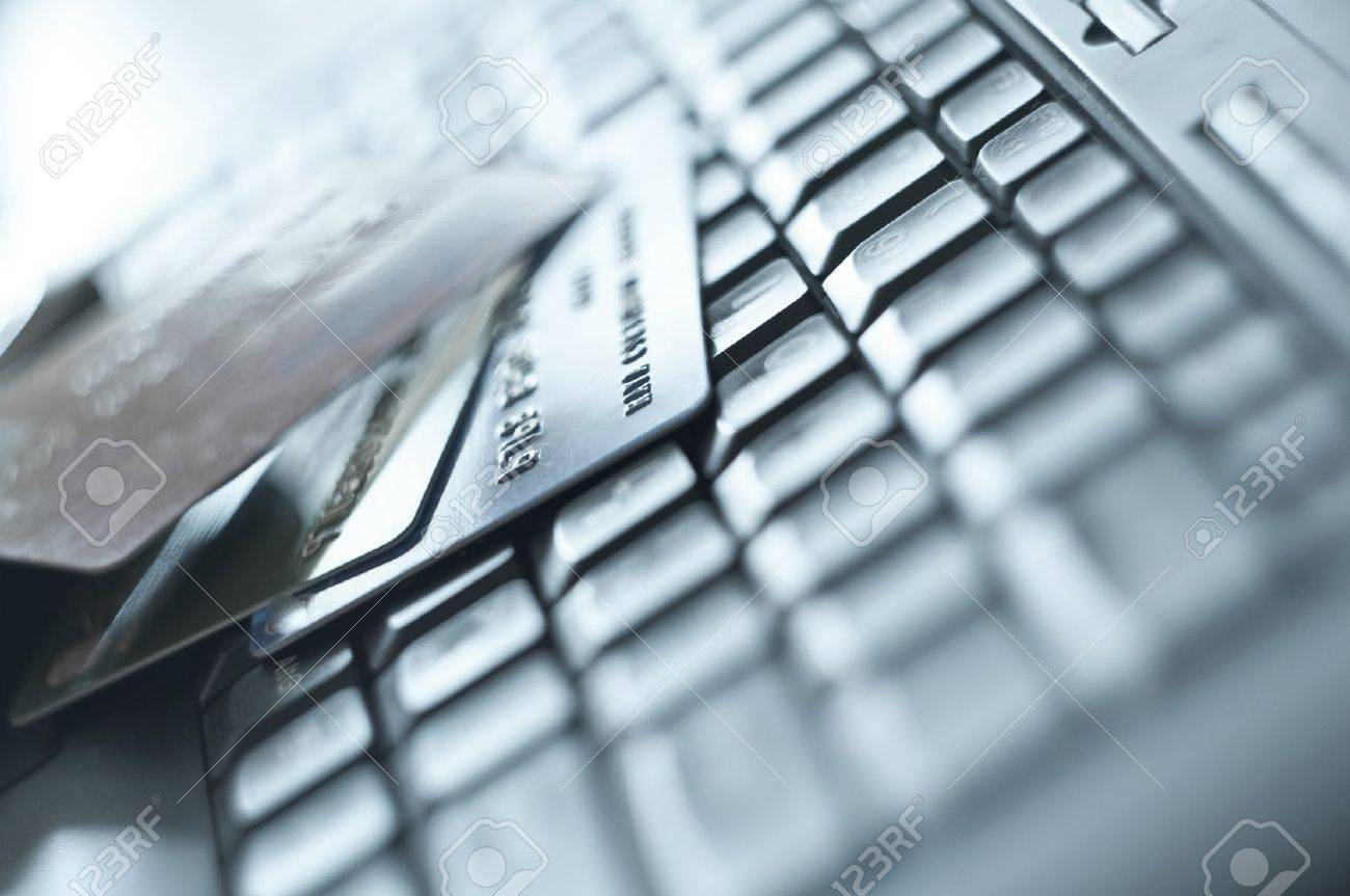 credit cards over computer keypad Stock Photo - 9600792