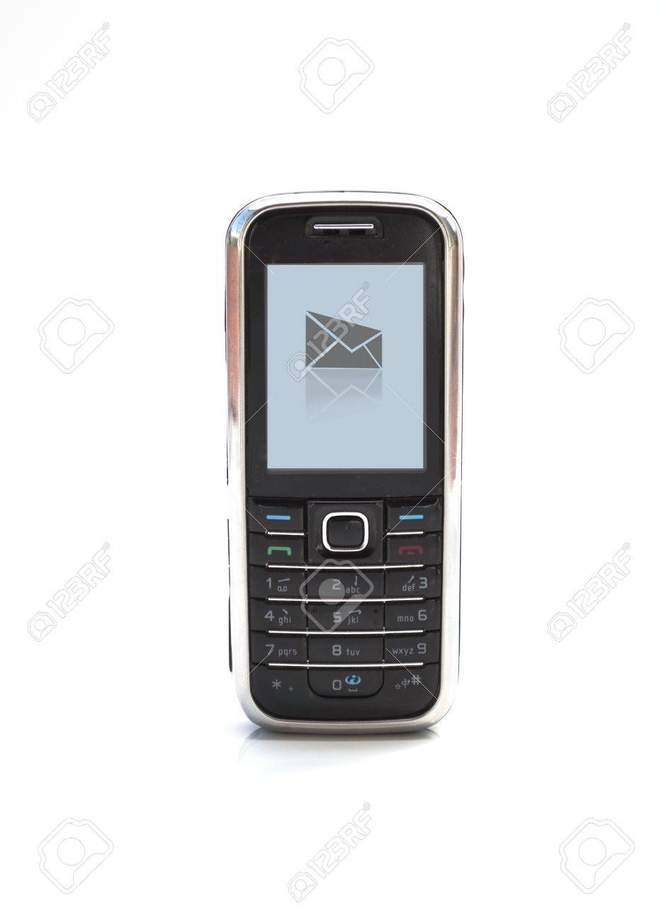 Cell Phone With New Message Symbol On Screen Stock Photo Picture