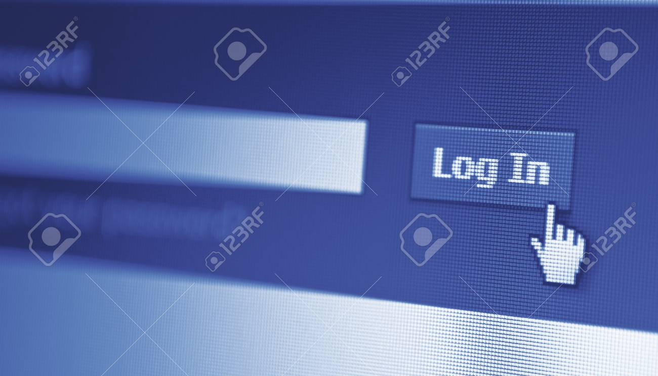 close-up of monitor screen and log in button displayed Stock Photo - 18133385