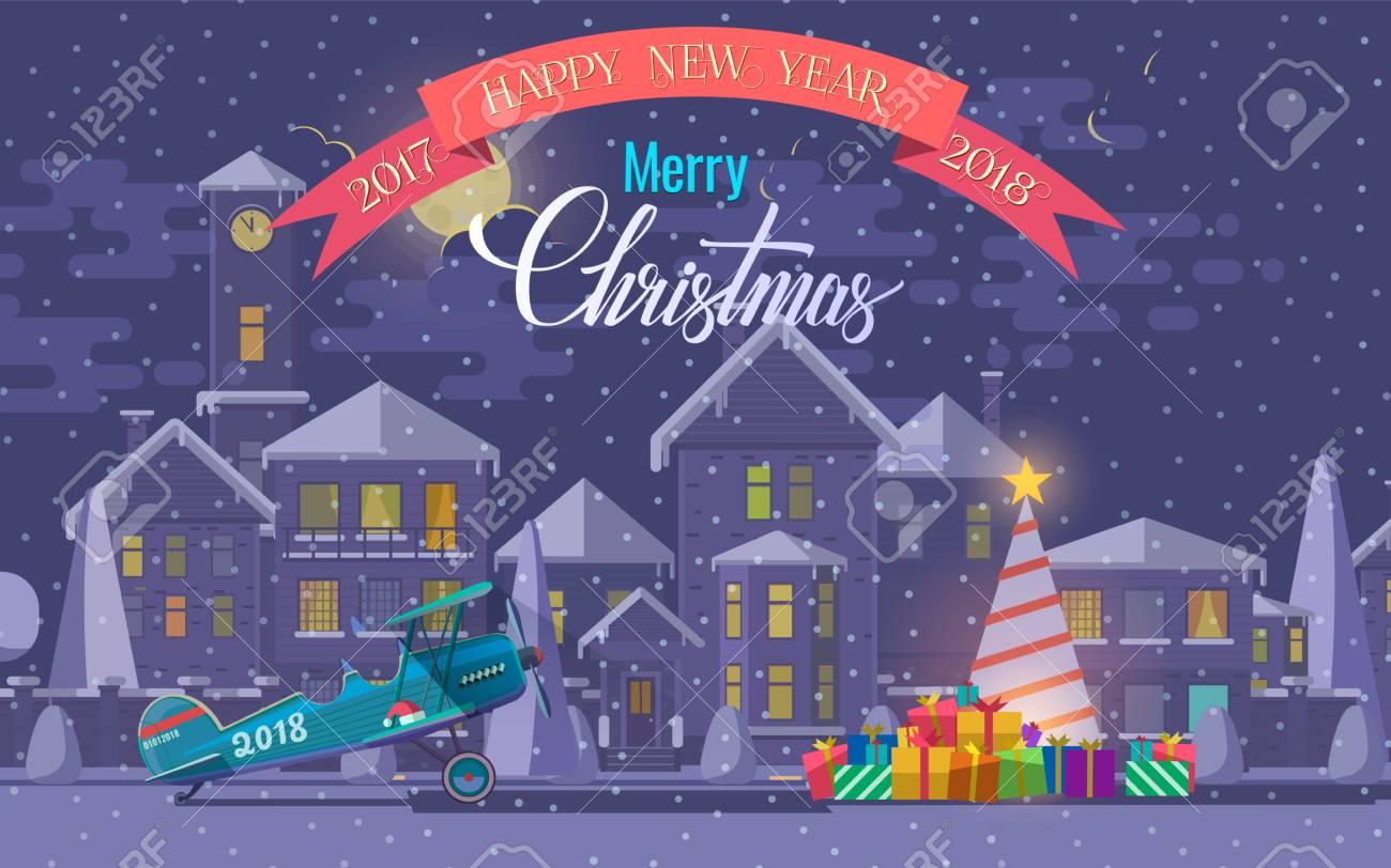 Carte De Voeux De Noël. Illustration Vectorielle D'avion Et Arbre