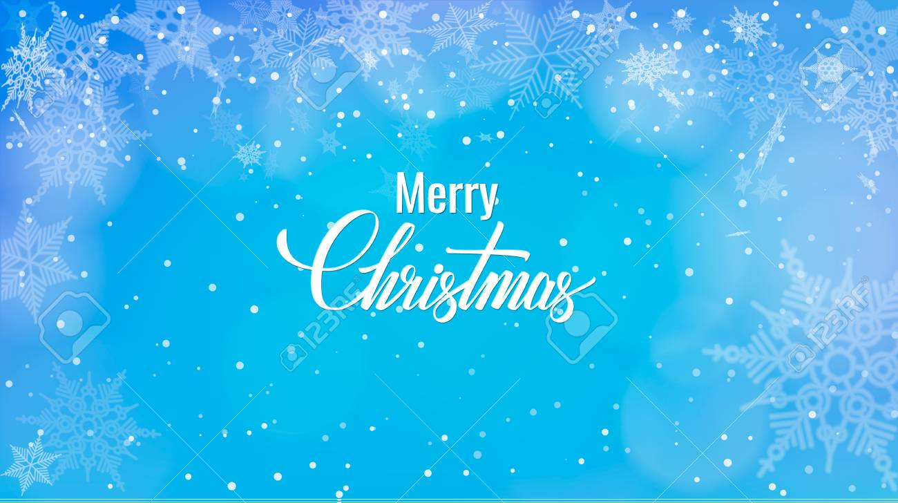 Christmas greeting on snow background merry christmas words christmas greeting on snow background merry christmas words on blue winter background with snowfall m4hsunfo