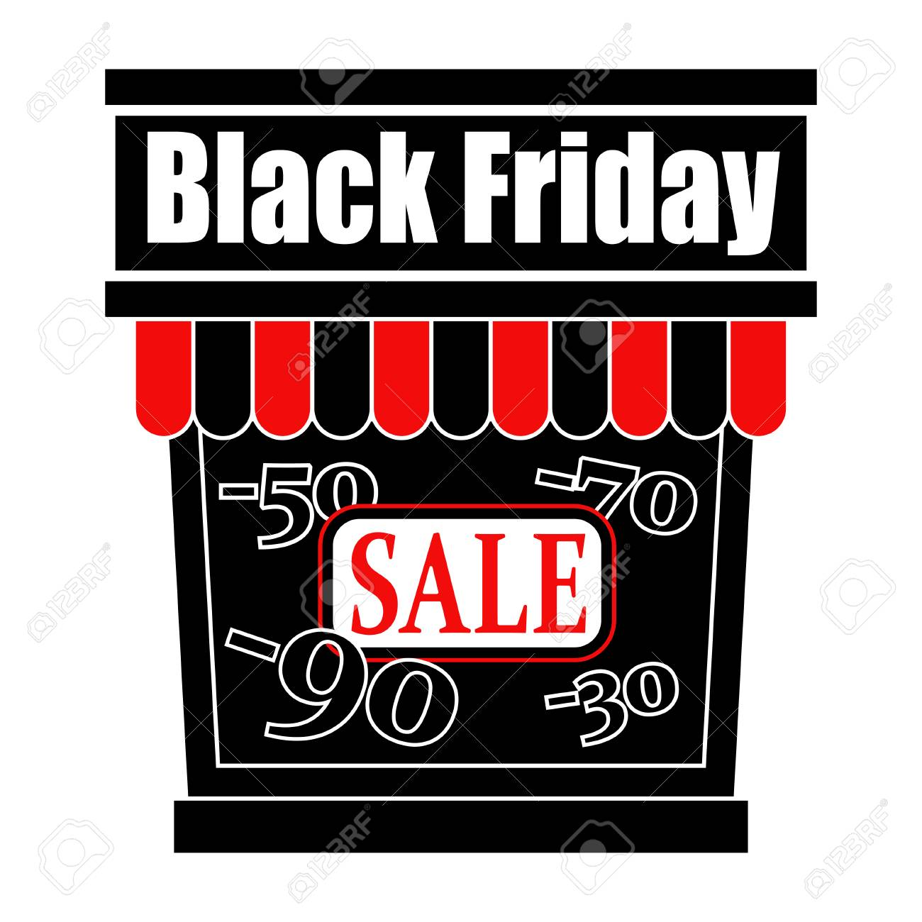 Black Friday Sale Day Logo Store Icon With A Sale Showcase Royalty Free Cliparts Vectors And Stock Illustration Image 111210639