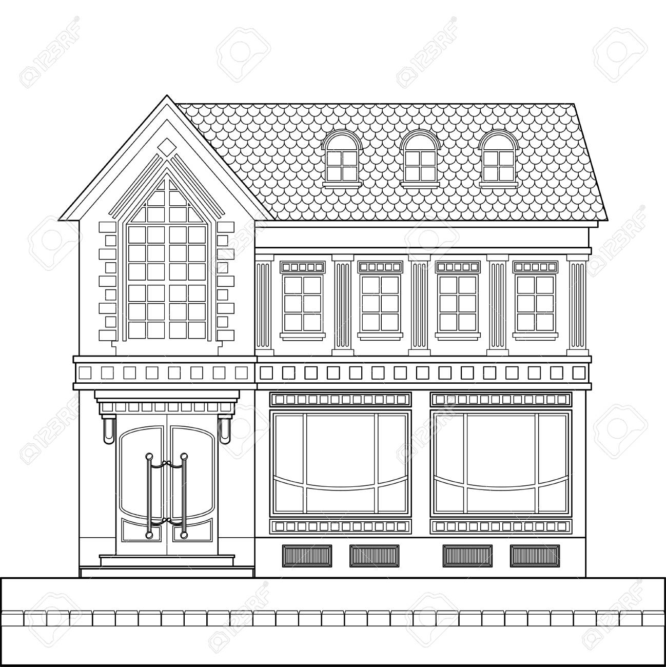 A drawing of a classic brick two-story building with shop windows