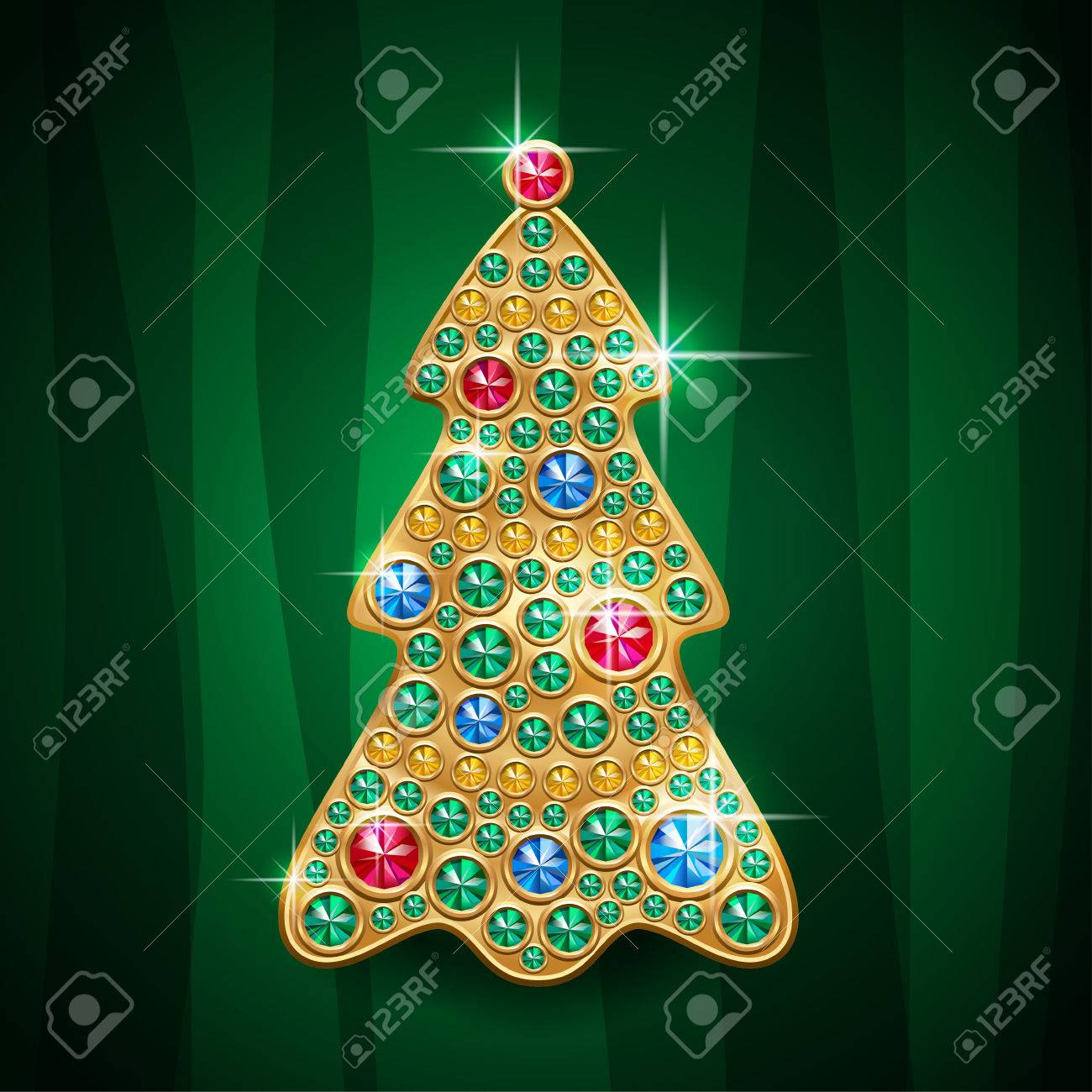 Glamour Shiny Jewelry Christmas Tree. Vector Card Royalty Free ...