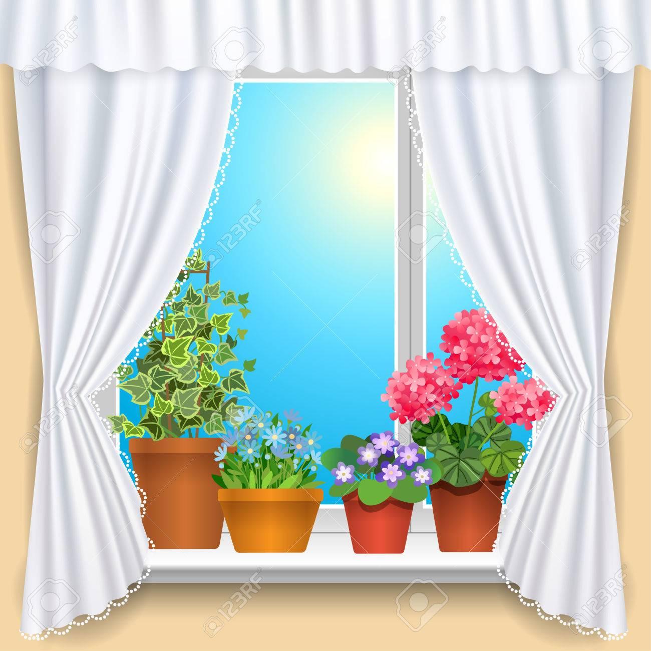 Fenêtre Avec Des Rideaux Et Des Fleurs Blanches Modèle Fond Pour La ...