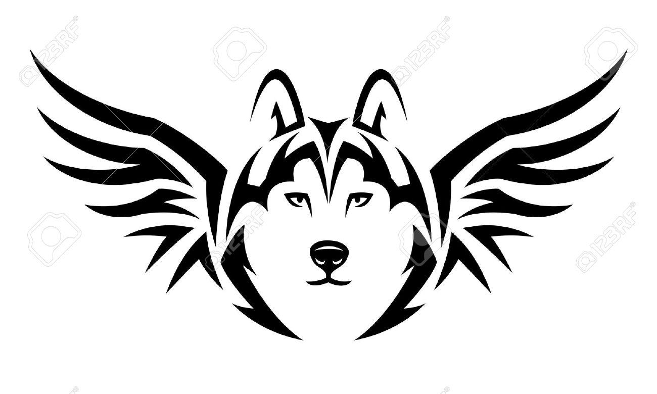 Voler Loup Conception De Tatouage Tribal Noir Illustration Isole