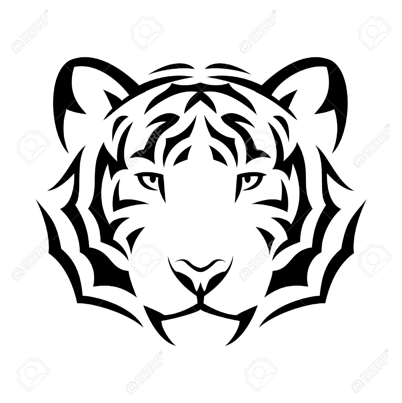 Tatuaje Tigre Tribal ilustración, diseño del tatuaje del tigre tribal. negro aislado en