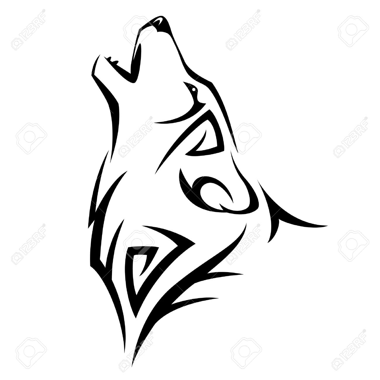 Howl Wolf Tattoo Tribal Design Illustration Royalty Free Cliparts
