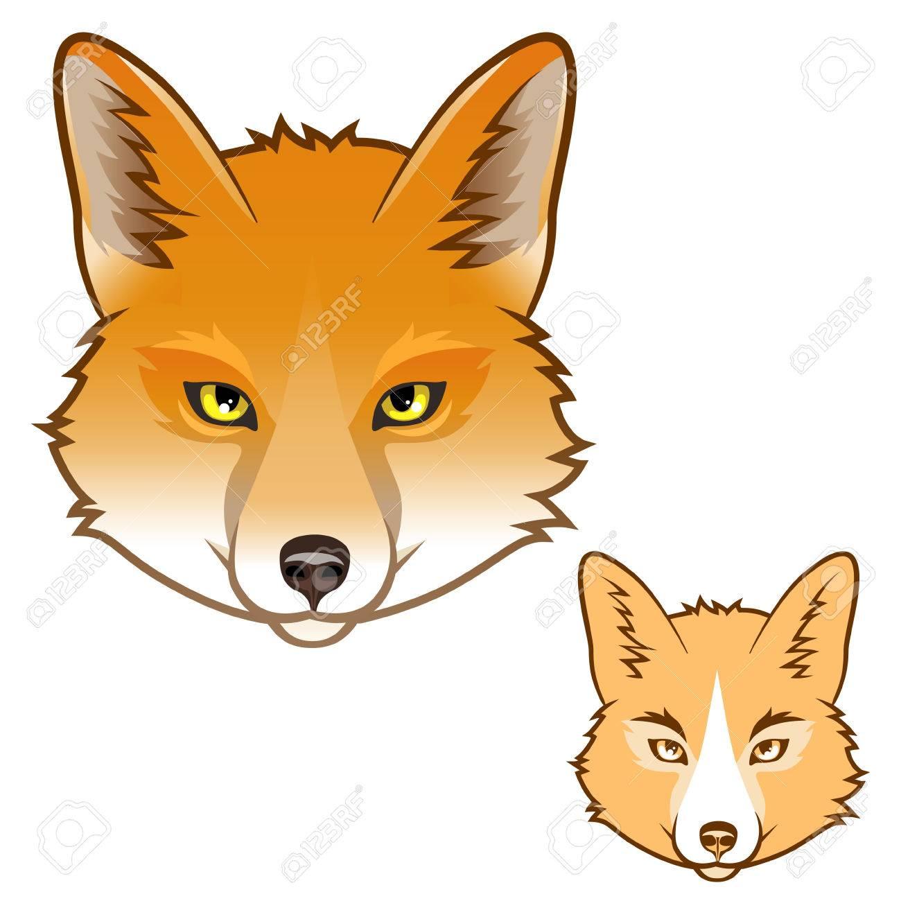 Stylized fox head icon for  Fox Head Illustration