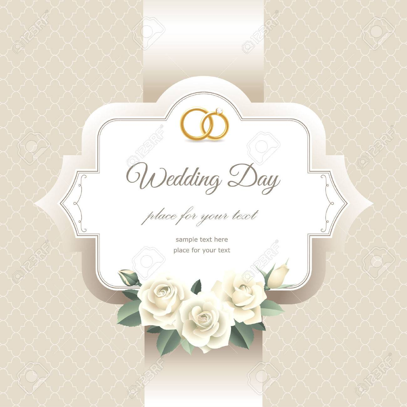 Invitation Label With White Roses. Elegant Card For Your Wedding ...