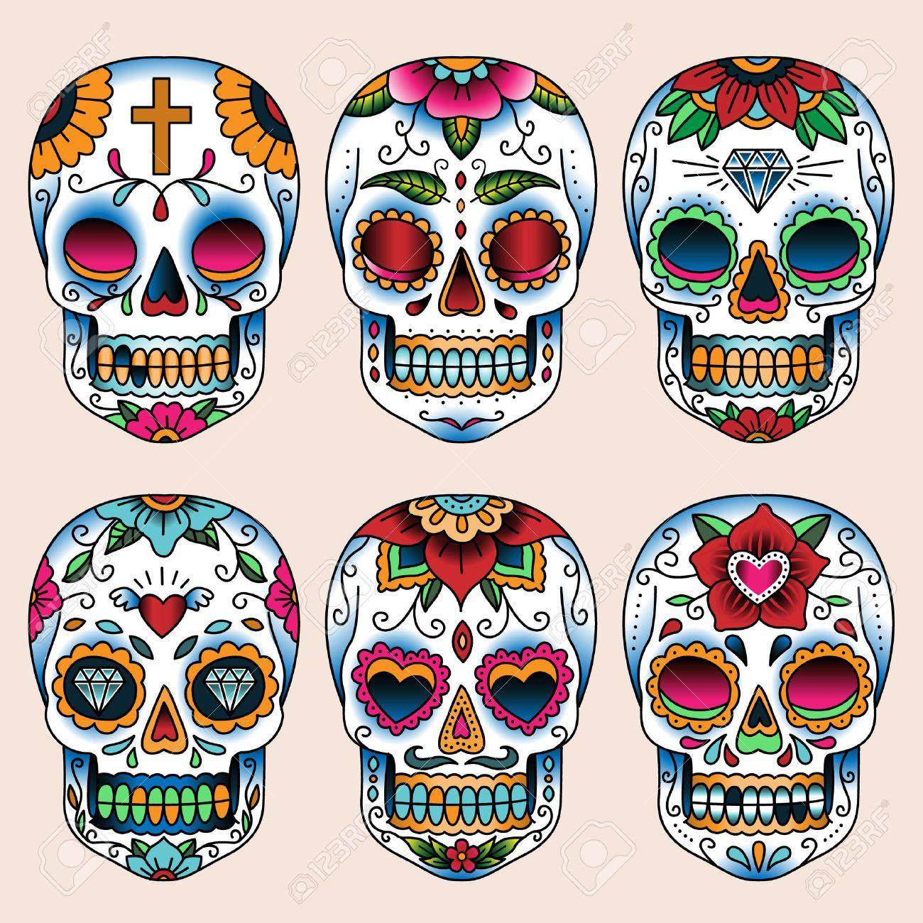 Gesetzt Der Tattoo Kunst Schadel Im Mexikanischen Stil Fur Design