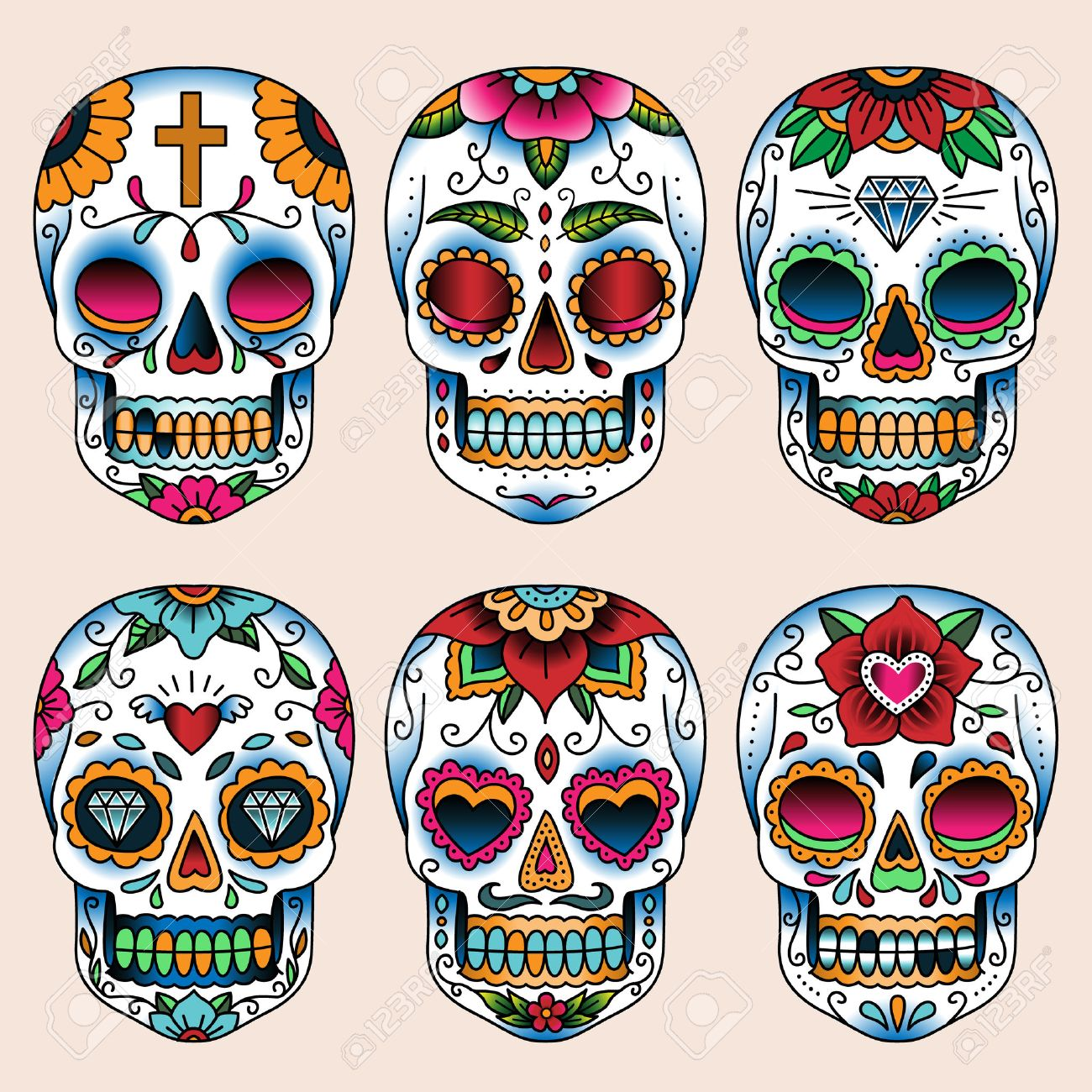 Set Of Tattoo Art Skulls In Mexican Style For Design And Decoration ...