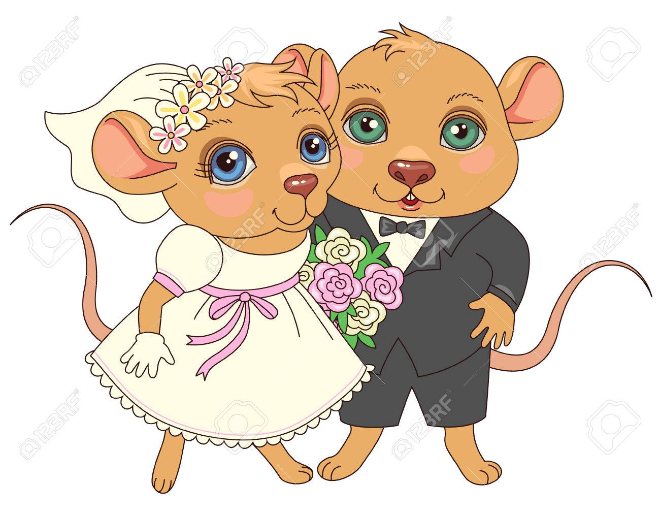 cute cartoon characters couple of happy mice of newlyweds royalty