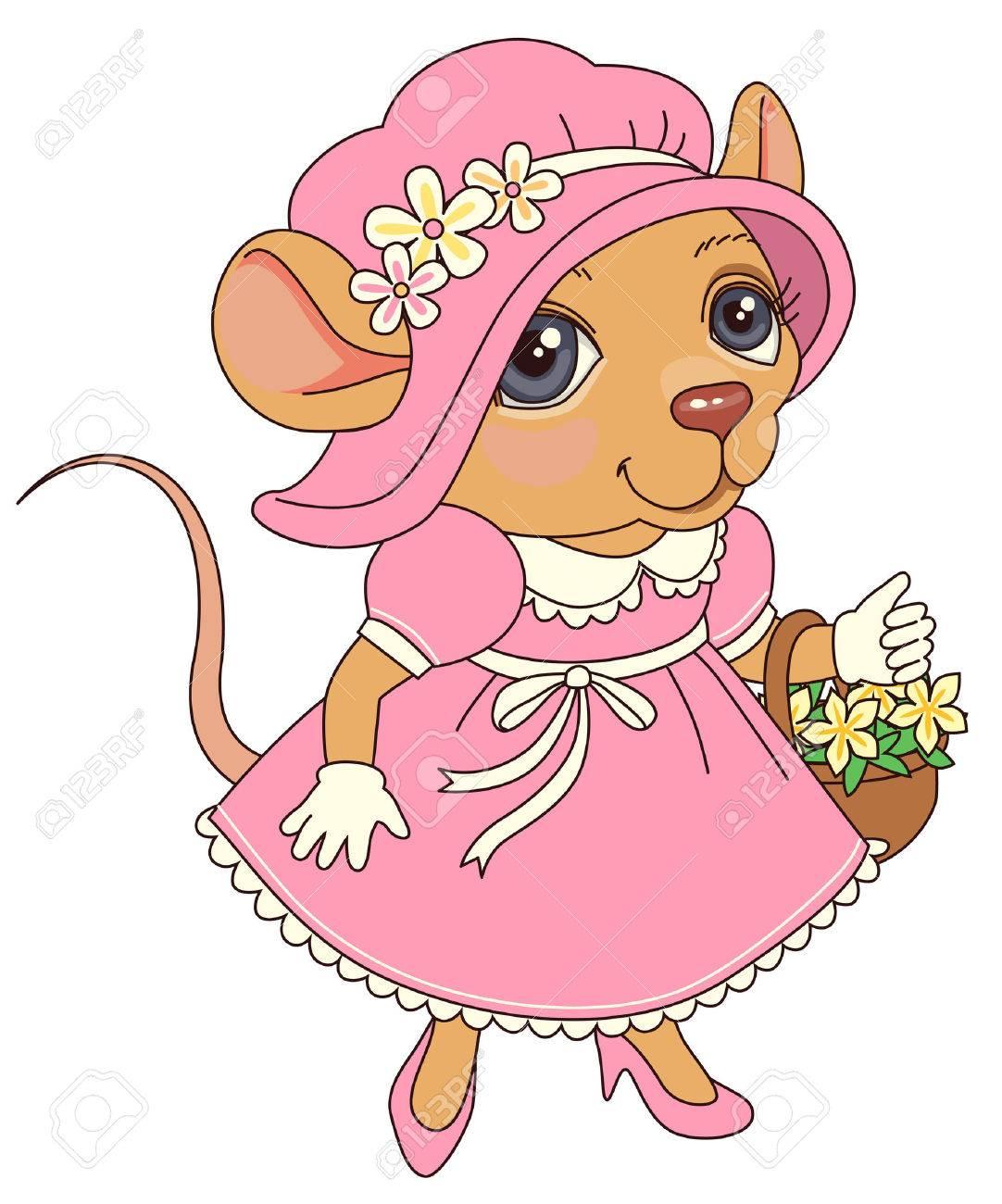 Ratón Con Flores En Un Vestido De Color Rosa De La Vendimia ...