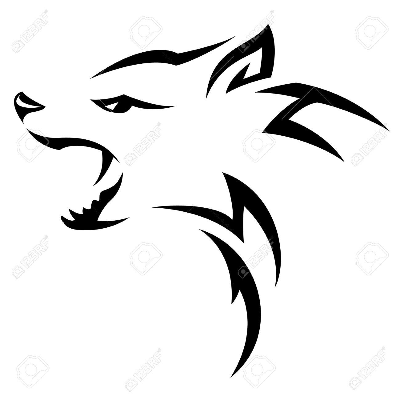 Hyenes Tete Conception De Tatouage Tribal Noir Isole Sur Blanc Clip
