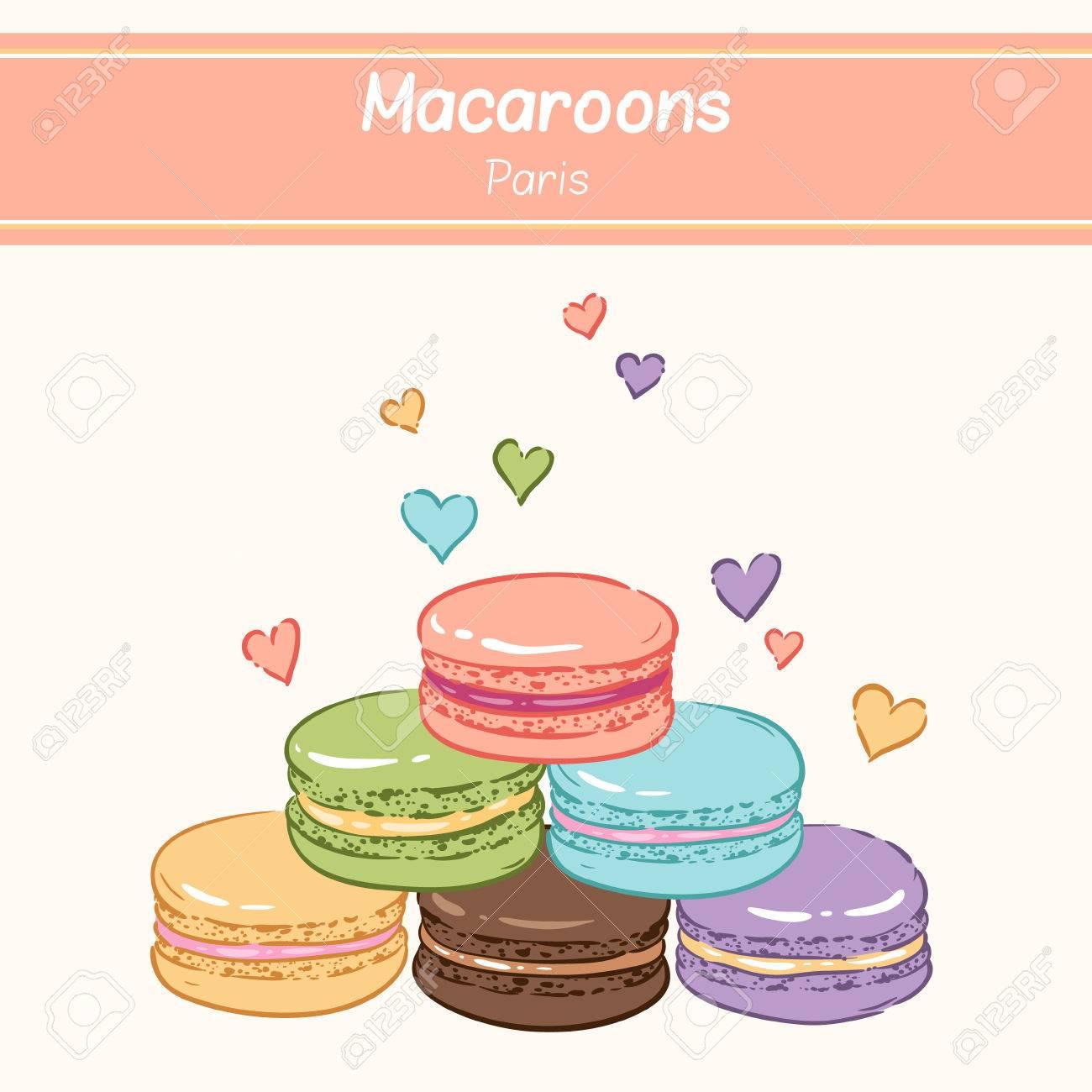 お菓子のかわいい背景 甘い色マカロンのピラミッド のイラスト素材 ベクタ Image