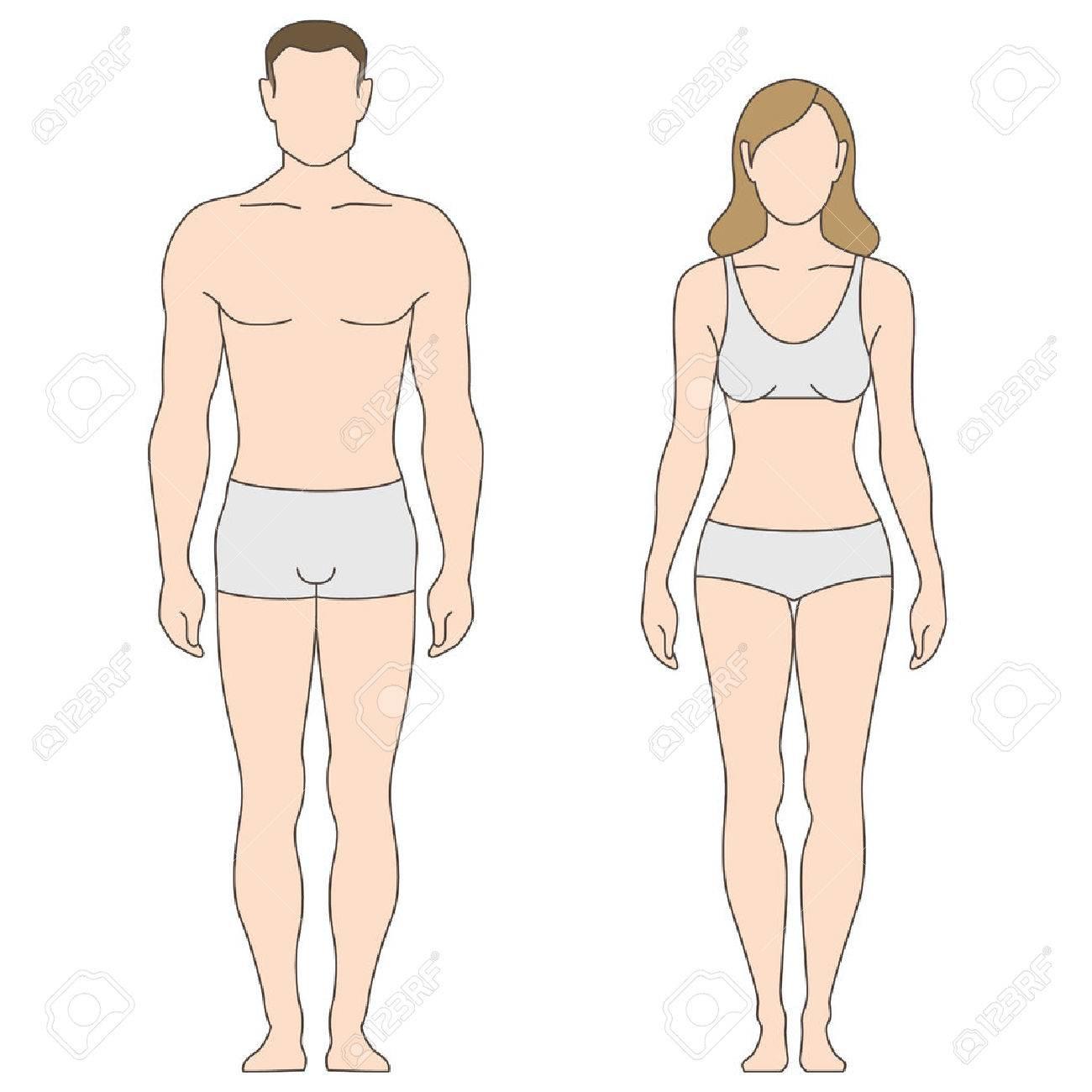 Figuras De Hombre Y Mujer. La Plantilla Para Su Diseño Ilustraciones ...