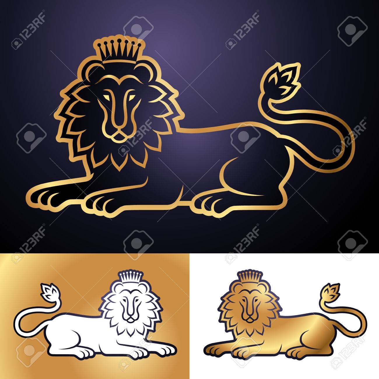 Lying Lion In The Crown Set Of Heraldic Symbols For Your Design
