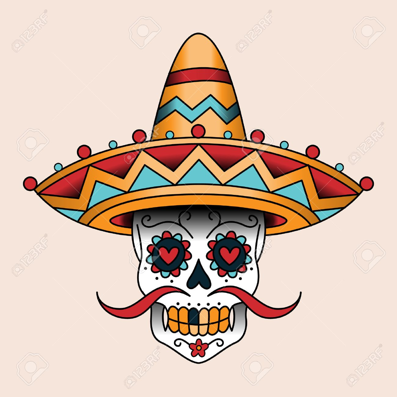 5bad79d3068a9 Mexican sugar scull in sombrero. Traditional style color tattoo Stock  Vector - 37513256