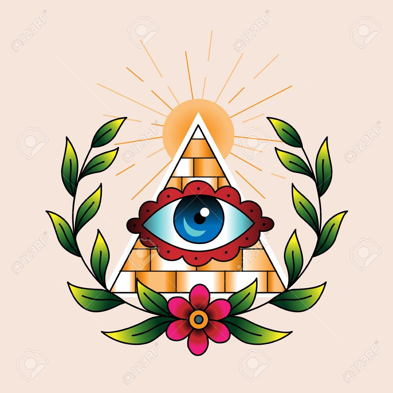 Symbole Des Macons En Couronne De Laurier Couleur Tatouage Style