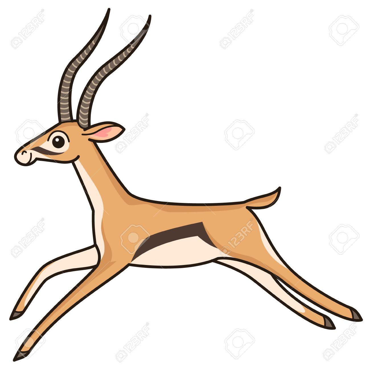 cartoon character running antelope isolated on white background rh 123rf com