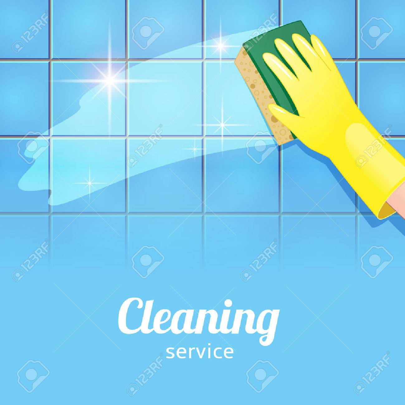 White gloves apron cleaning services - Cleaning Service Concept Background For Cleaning Service Hand In Yellow Glove Cleans The Blue