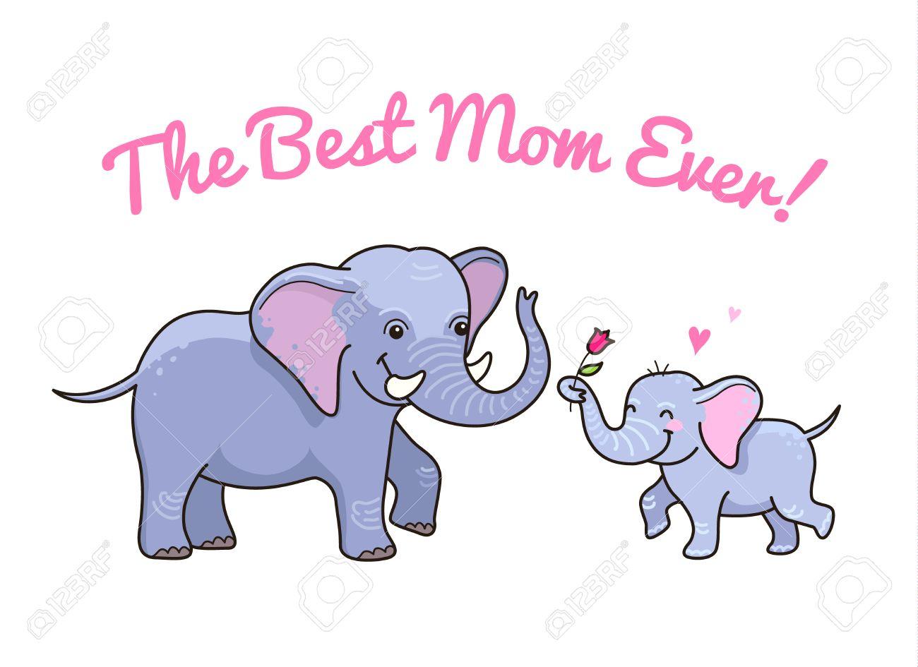 Personnages De Dessins Animés Petit éléphant Donne Une Fleur à Maman Carte Mignonne Pour La Fête Des Mères